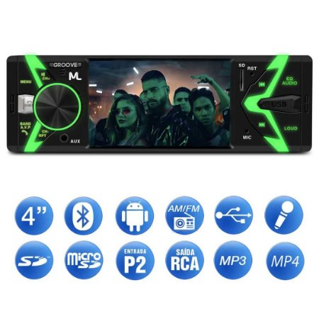 "Auto Radio Multilaser Groove 4"" Bluetooth, MP5, USB - P3341"