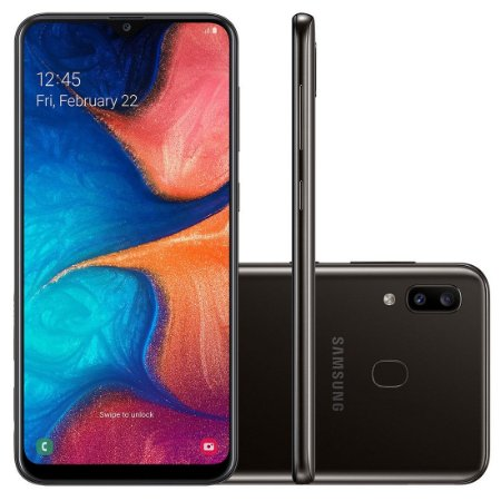 "Smartphone Samsung Galaxy A20 32GB, 4G - 3GB RAM 6,4"" Câm. Dupla + Câm. Selfie 8MP ."