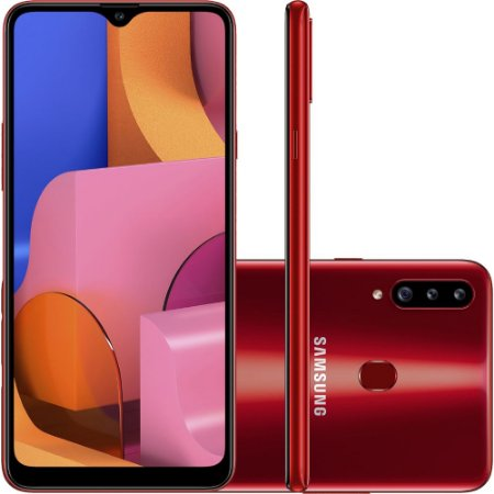 Smartphone Samsung Galaxy A20s 32GB Preto 4G - Octa-Core 3GB RAM Câm. Tripla + Selfie 8MP