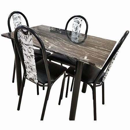 Conjunto de Mesa Moura 4 cadeiras Gran Michelly 75 x 1,10 cm