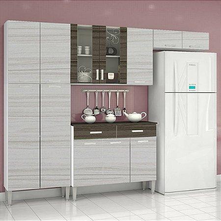 Cozinha Kits Parana Alfa Top - Nogal/Branco