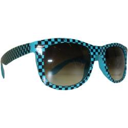 Óculos Retro  -  Quadriculado Azul Turquesa e Preto