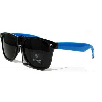 Óculos Retro - Preto - haste azul royal