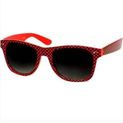 Óculos Retro -  Quadriculado Vermelho e Preto