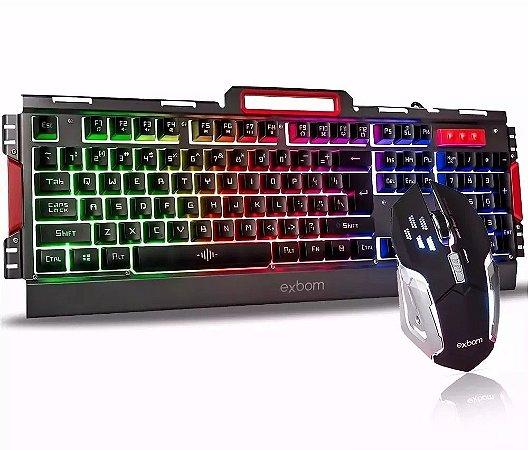 Kit Gamer Teclado e Mouse Metal com iluminação de Led BK-G3000 Exbom