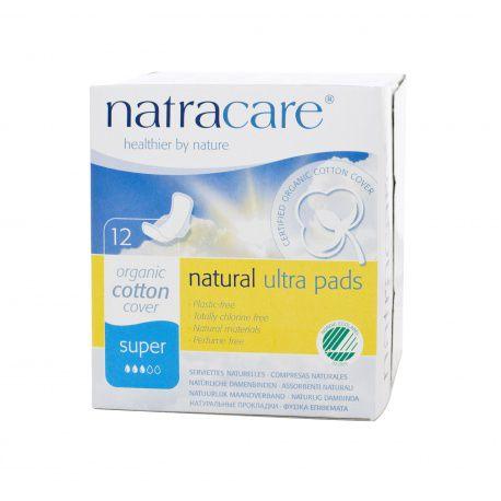 Absorvente externo Natracare SUPER com abas C/  12 unid. - Natracare