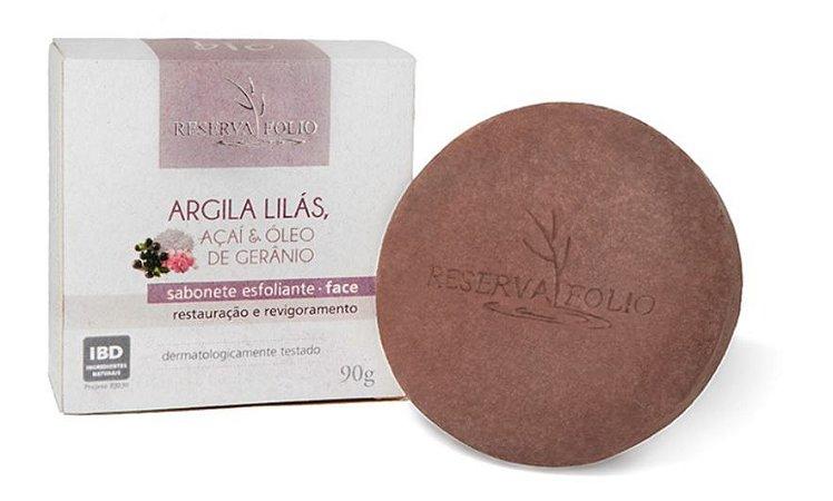 Sabonete Esfoliante Facial de Argila Lilás 90g - Reserva Folio