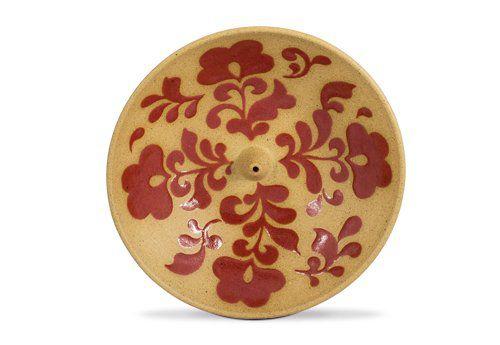 Incensário de Cerâmica em Floral - Vermelho - Inca aromas