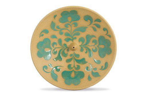 Incensário de Cerâmica em Floral - Verde Turquesa - Inca aromas