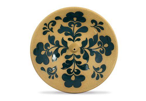 Incensário de Cerâmica em Floral - Verde Petróleo - Inca aromas