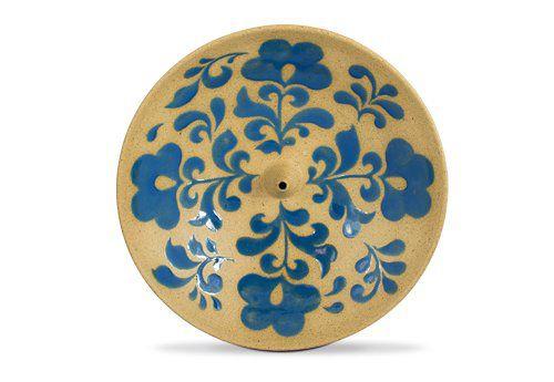 Incensário de Cerâmica em Floral - Azul Alemão - Inca aromas