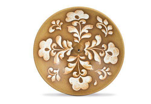 Incensário de Cerâmica em Floral - Branco