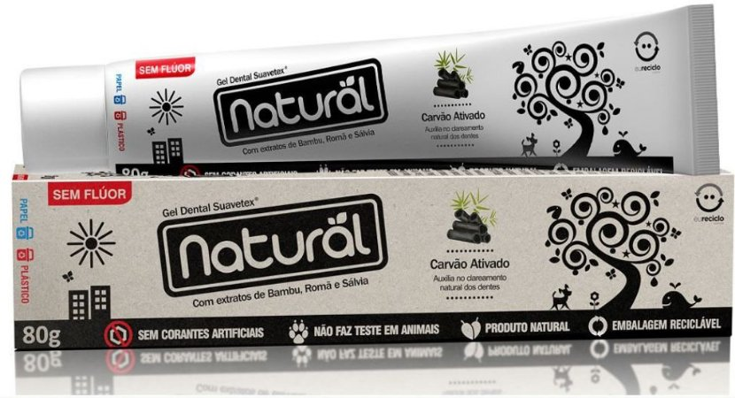 Creme Dental Natural Suavetex com Carvão Ativado, extratos de Bambu, Romã e Sálvia 80g - Orgânico Natural