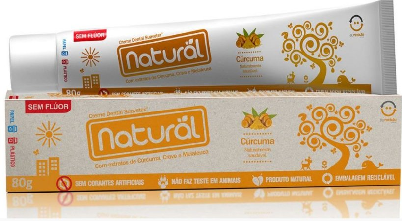Creme Dental Natural Suavetex com Extratos de Cúrcuma, Cravo e Melaleuca 80g - Orgânico Natural