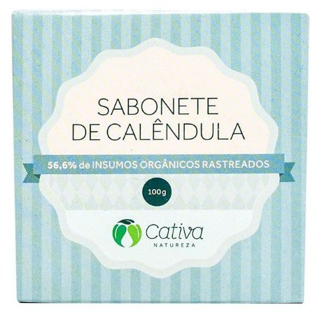 Sabonete Vegetal de Calêndula Natural Orgânico Vegano - Cativa Natureza