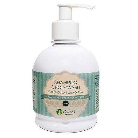 Shampoo e Sabonete 2 em 1 com Calêndula Natural Orgânico Vegano - Cativa Natureza - 315ml