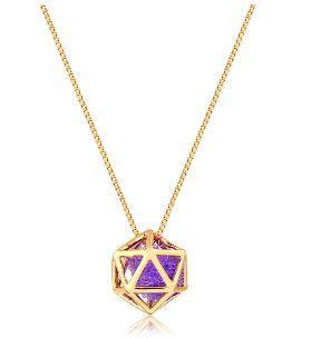 Difusor Pessoal Em Prata 925 Com Banho De Ouro - Modelo Icosaedro - Divico Joias Terapêuticas