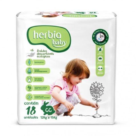 Fralda Ecológica Descartável GG Herbia Baby 18 uni - Herbia