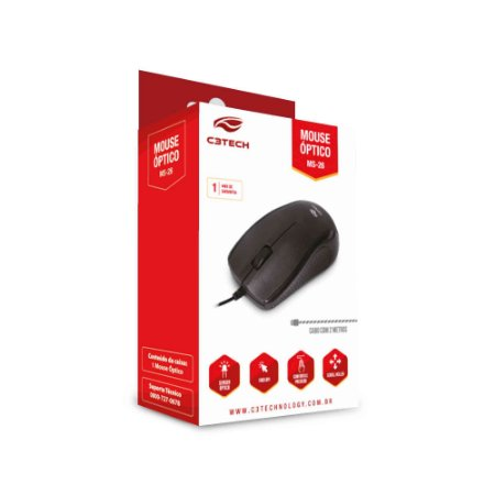 Mouse USB Preto, C3TECH MS-26BK