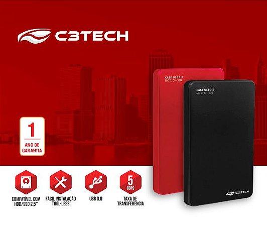"Case para HD Externo 2,5"" USB 3.0, C3TECH CH-300BK"