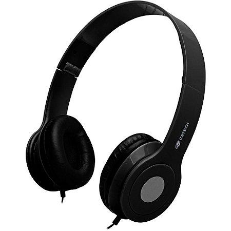 Fone Headset com Microfone, Dobrável, C3TECH PH-100BK