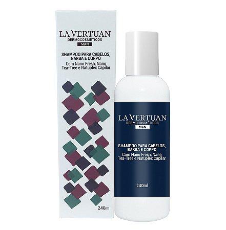 Shampoo para Cabelos, Barba e Corpo 240ml - Dermocosméticos -  La Vertuan