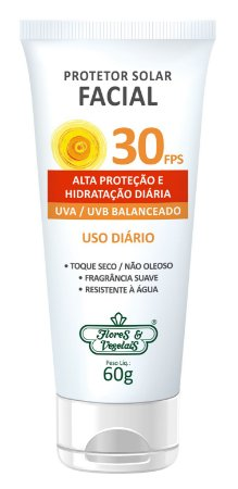 Protetor Solar Facial  Vegano FPS 30  60gr  -  Flores e Vegetais