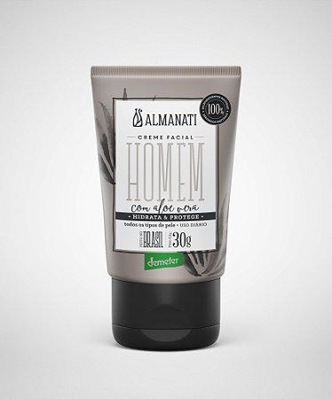 Homem Creme Hidratante Facial  com Aloe Vera - 30g -  Almanati