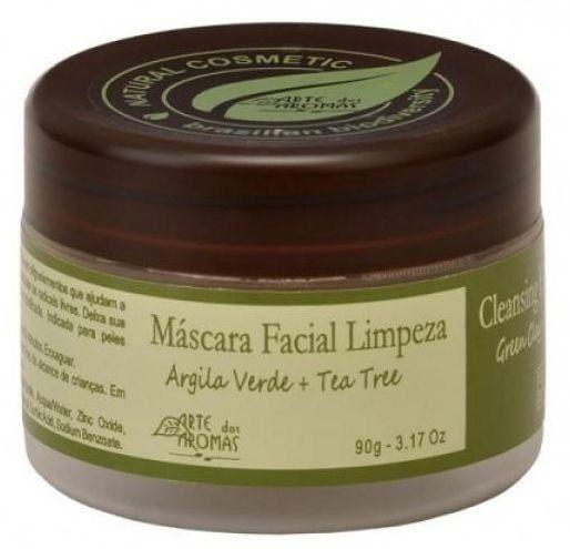 Máscara Facial de Limpeza com Argila Verde e Óleo Essencial de Tea Tree 90g - Arte dos Aromas