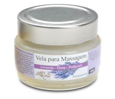 Vela Hidratante para Massagem Relaxante com Lavanda, Ylang Ylang e Petitgrain 100g - Arte dos Aromas