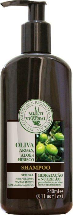 Shampoo de Oliva com Argan, Aloe e Hibisco - Cabelos Secos e Cacheados 240ml - Multi Vegetal