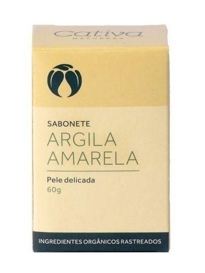 Sabonete Argila Amarela com Lavanda, Capim Limão e Copaíba - Pele Delicada 60g - Cativa Natureza