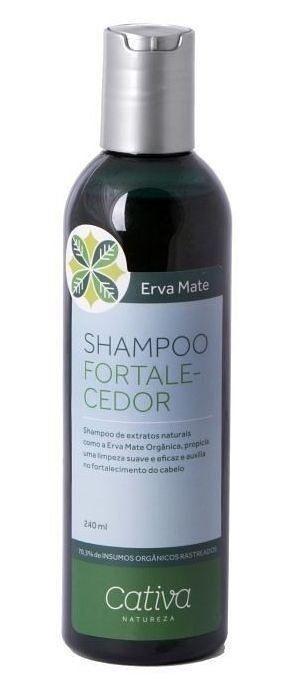 Shampoo Fortalecedor Erva Mate com Alecrim, Gengibre e Chá Verde 240ml - Cativa Natureza