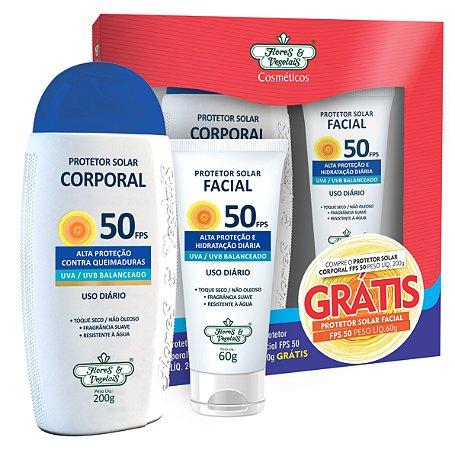 Kit Protetor Solar Corporal FPS 50 200g + Protetor Solar Facial FPS 50 60g  - Flores e Vegetais