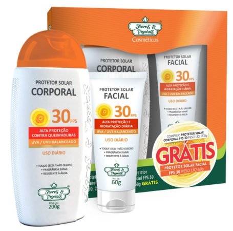 Kit Protetor Solar Corporal Vegano  FPS 30 200g + Protetor Solar Facial Vegano FPS 30 60g - Flores e Vegetais