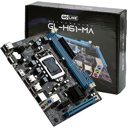 Placa Mãe GOLINE GL-H61-MA Socket LGA 1155 - até 2 DDR3