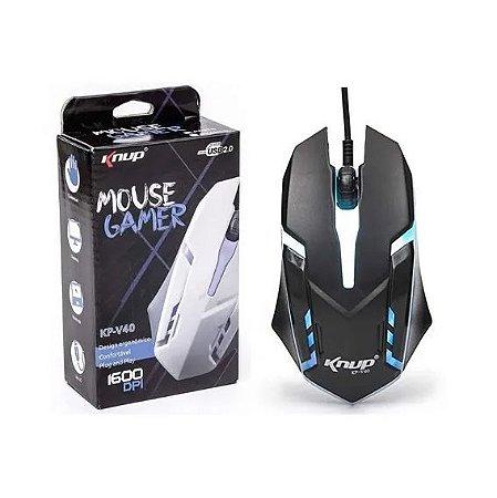 Mouse Gamer Usb 1600 Dpi Iluminação Led 3 Botões Knup Kp-v40
