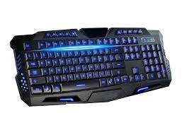 Teclado Gamer com fio USB 10 tecla de atalho 3 cores iluminação