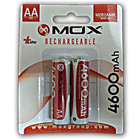 Pilha Mox Recarregavel 4600 mAh 2A com 2 pilhas