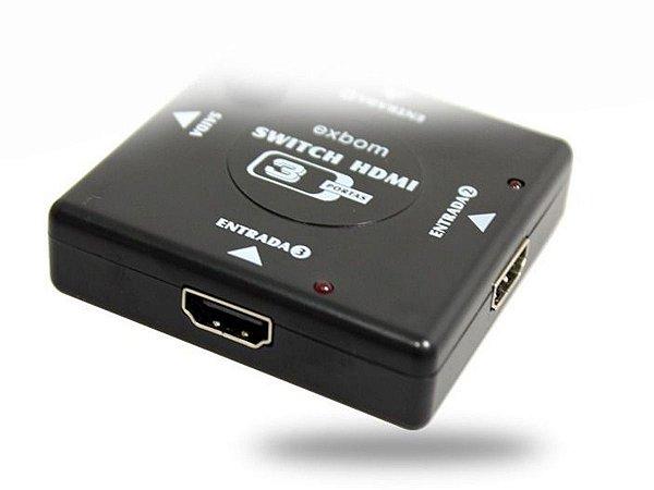 Adaptador Switch 3x1 Divisor 3 Portas Hdmi Tv Not Ps3 Xbox