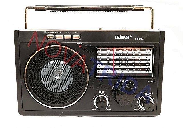 Rádio am/fm LE-609 Lelong 11 Bandas Usb/Cartão/Sd recarregavel