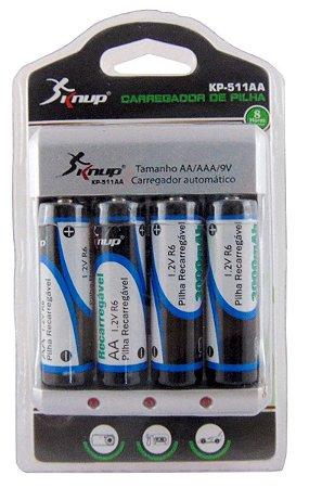 Carregador Pilhas Baterias De 9v, Com 4 Pilhas Aa 3000 Mah