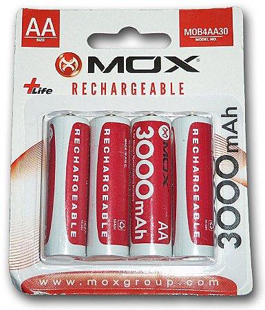 Pilha Mox Recarregavel 3600 mAh 2A com 4 pilhas