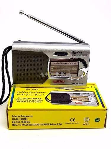 Radio Pilha Simples Am Fm Portátil 822-E