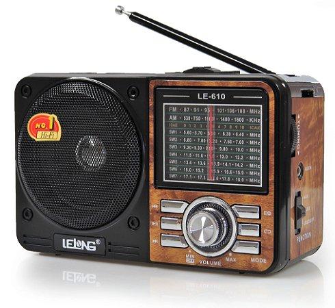 Radio Am/Fm usb/cartão recarregavel lelong LE-610