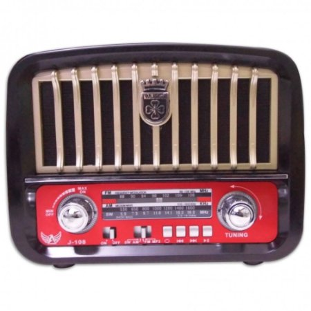 RADIO AM/FM/USB/SD RECARREGAVEL RETRÔ ALTOMEX J-108