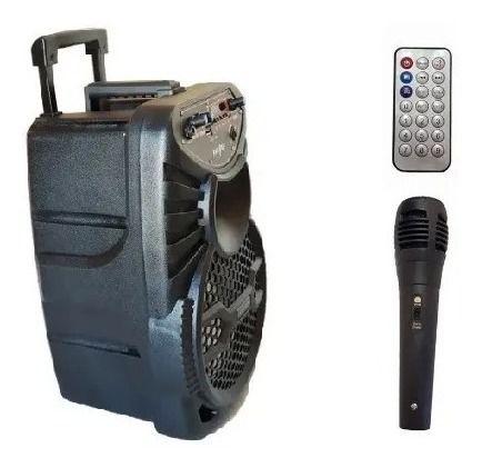 """Caixa De Som Amp Bluetooth Usb Cartao mic. Com Rodinhas 8"""""""