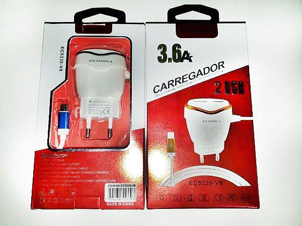 Carregador Smartphone V8 com 2 Usb 3.6A Ecooda