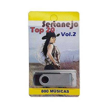 Pendrive musical 700-1000 musicas sertanejo top 20 vol. 2