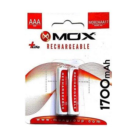 Pilha Mox Recarregavel 3A Palito com 2 pilhas 1700 Mah